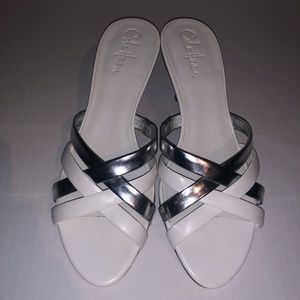 Cole Haan White and Silver Sandals
